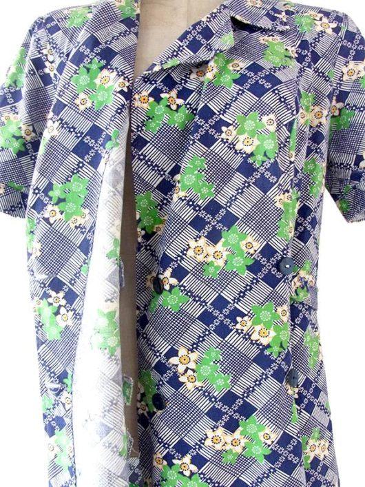 【送料無料】ロンドン買い付け 60年代製 ブルー X グリーン・イエロー 花柄・ブロック柄 前合わせ ワンピース 20OM108【ヨーロッパ古着】