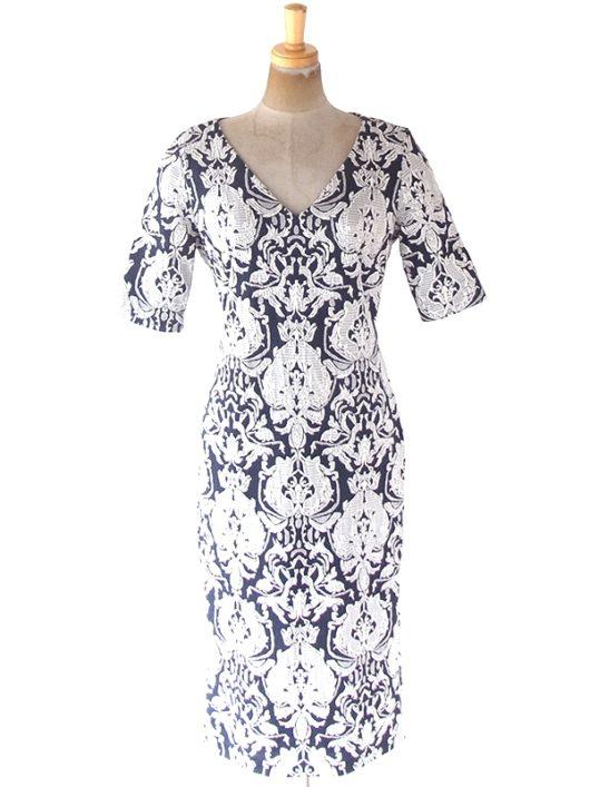 【送料無料】フランス買い付け ネイビー X ホワイト オーナメント柄刺繍 ヴィンテージ ドレス 20FC333【ヨーロッパ古着】