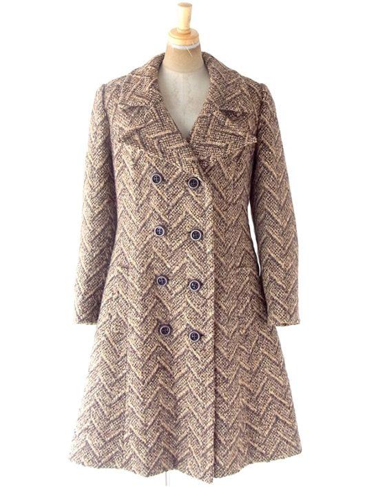 【送料無料】60年代フランス製 ブラウン X ヘンリボーン 厚手ウールツイード コート 20FC402【ヨーロッパ古着】