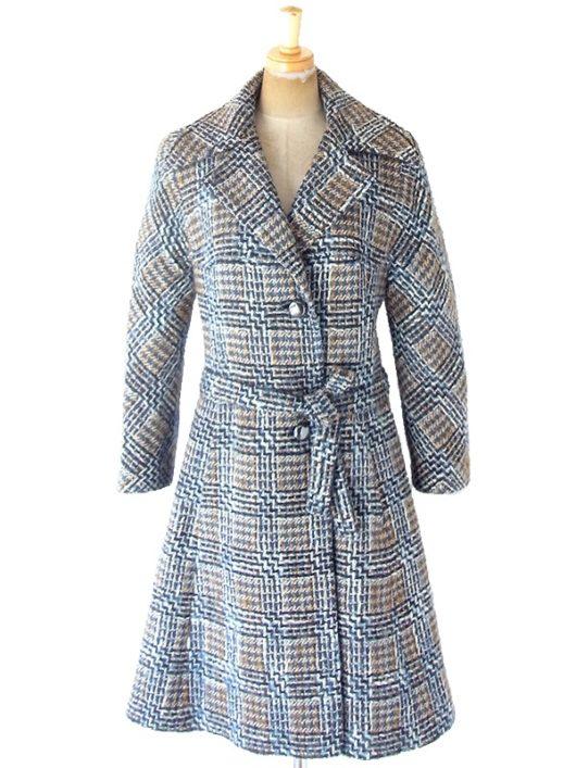 【送料無料】フランス買い付け 60年代製 ブルー X ブラウン チェック柄 厚手ウール ツイード コート 20FC403【ヨーロッパ古着】