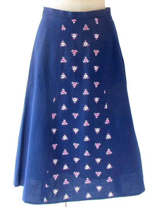 【ヨーロッパ古着】ロンドン買付 ネイビー X ピンク・ホワイト 花柄モチーフ刺繍 スカート 20BS122【おとなかわいい】