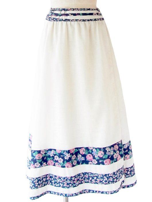 【ヨーロッパ古着】ロンドン買い付け 60年代製 オフホワイト X ブルー 花柄テープ 巻きスカート 20BS123【おとなかわいい】