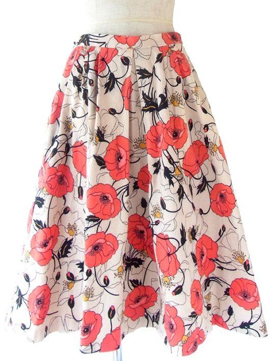 【ヨーロッパ古着】ロンドン買付 サンドベージュ X 朱色 花柄 透かしで波模様の浮かぶ プリーツ スカート 20BS124【おとなかわいい】