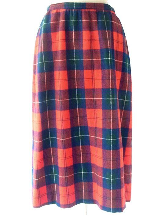 【アメリカ古着】アメリカ製 PENDLETON レッド X ブルー・グリーン タータンチェック ウール スカート 20BS125【おとなかわいい】