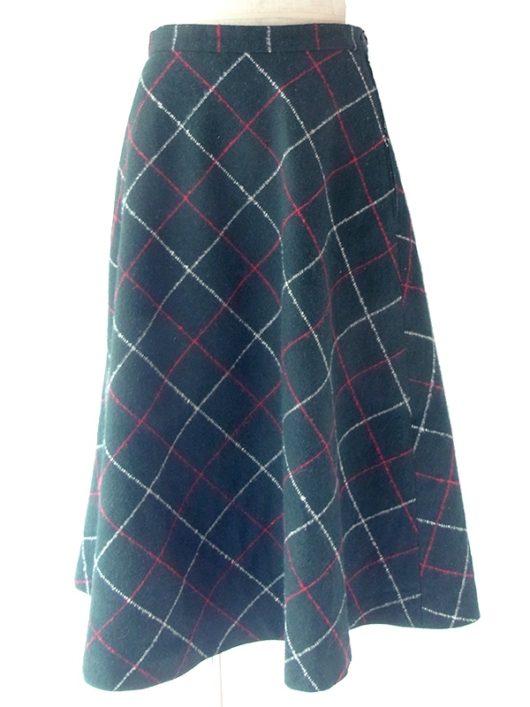 【ヨーロッパ古着】ロンドン買い付け 60年代製 グリーン X レッド・ホワイト チェック柄 ウールスカート 20BS126【おとなかわいい】 http://littlebird.co.jp/SHOP/20BS126.html