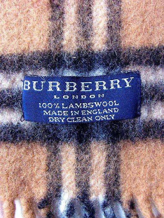 【ヨーロッパ古着】イギリス製 BURBERRY バーバリー サンドブラウン X チェック柄 ウール マフラー 20BS130【ハイブランド】