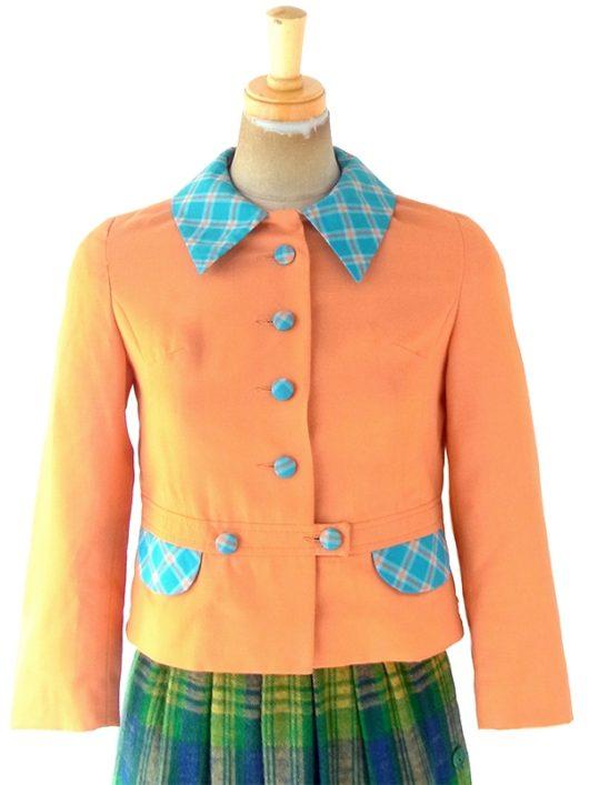 【ヨーロッパ古着】ロンドン買付け 60年代製 オレンジ X 水色 ギンガムチェック くるみボタン ショート丈 ジャケット 4LA806【おとなかわいい】