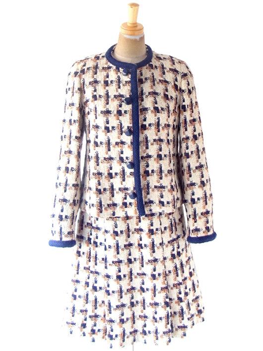 【送料無料】フランス買い付け 60年代製 アイボリー X ブルー・オレンジ チェック柄 ウール ツイード ジャケット スカート セットアップ 20FC700【ヨーロッパ古着】