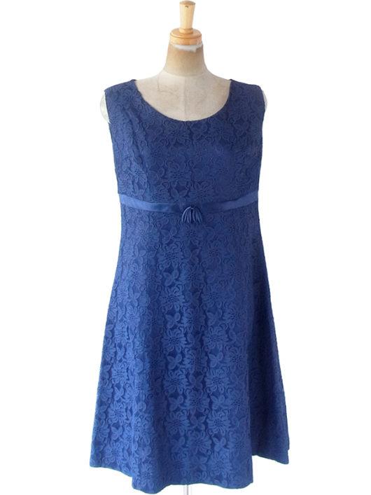 【送料無料】ロンドン買い付け 70年代製 ロイヤルブルー X 花柄総レース ヴィンテージ ドレス 21BS012【ヨーロッパ古着】